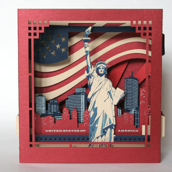 Independence Day Souvenirs, The Statue of Liberty Pop Up Card, New York Card, United States Souvenirs, Independence Day Souvenir, USA Flag .