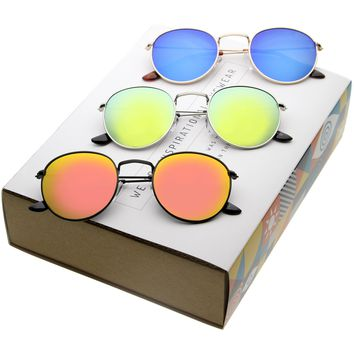 Retro Round Mirrored Flat Lens Metal Sunglasses A409 [Promo Box]