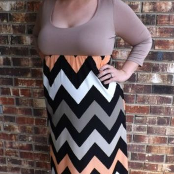 Quarter Sleeve Chevron Maxi Dress