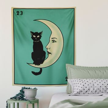 La Luna Cat Card Moon Tapestry