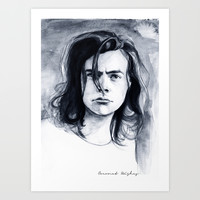 Harry Watercolors B/N Art Print by Coconut Wishes