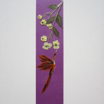 "Handmade unique bookmark ""To reach the desired goal"" - Decorated with dried pressed flowers and herbs - Original art collage."