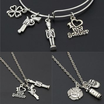 1pc Firefighter Necklace Fireman Charms Clover Gun Pendant I Love My Soldier For Fireman Gift Men Jewelry