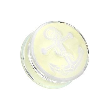 Glow in the Dark Anchor Enamel Embossed Double Flared Ear Gauge Plug