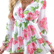 White Floral V-neck Long Sleeve Pleated Romper