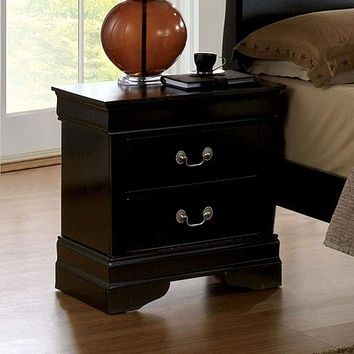 Louis Philippe Iii Contemporary Style Night Stand, Black Finish By Casagear Home