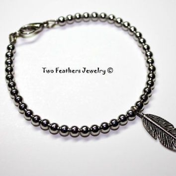 Silver Feather Bracelet - Silver Bracelet - Beaded Bracelet - Minimalist Bracelet - Boho - Chic - Gift For Her - Gift Under 20