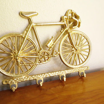 Vintage Brass Bicycle Key Rack, Bike Key Holder, Schwinn 10 Speed, Key Hanger, 1970's, Brass Figurines, Father's Day Gift
