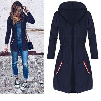 2018 New Winter Fashion Women Casual Trench Coat A-Line Open Stitch Hooded Pocket Medium Length Windbreaker Coat N-0611#