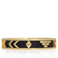 Gold Aztec Bangle in Black Leather