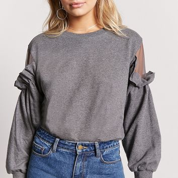 Ruffled Shoulder Mesh-Insert Sweatshirt
