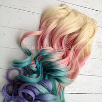 Pastel Tie Dye Hair, Blonde Ombre Hair Extensions, Pastel Pink, Blue and Purple, 7Pieces//Clip In//20""
