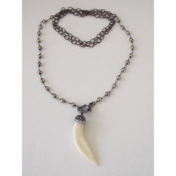 Pyrite Gemstone and Pave Wolf Tooth Necklace