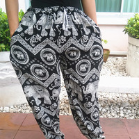 Black Elephant Yoga Pants Harem Boho Print Unisex Casual Fisherman Native Hippie Massage pant Gypsy Thai Cloth Clothing Boho Baggy Genie