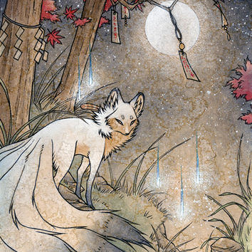 Fox and Wisps / Kitsune Fox Spirit Yokai / Japanese Style Art / 11x14 Print Poster Wall Decor