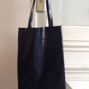 Black patent  distressed small shoper bag,tote bag black  leather tote bag opening SALE