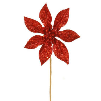 12 Poinsettia Spray Picks - Red Poinsettia Picks Are Completely Drenched In Sparkling Glitter With Large Glitter Flake Accents
