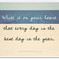 Inspirational Quote, best day, beach photography print, 8x10, Ralph Waldo Emerson, cursive, typography