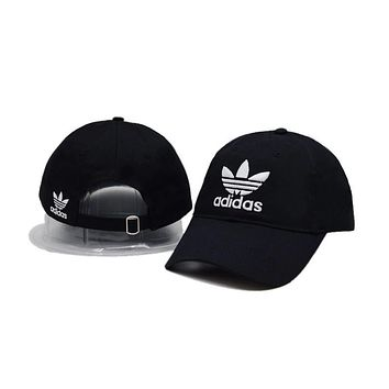 Trendy Black Adidas Logo Cotton Outdoor  Sports Baseball Golf Cap Hats