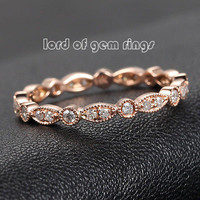 Pave Diamond Wedding Band Eternity Anniversary Ring 14K Rose Gold - SI/H Art Deco Antique Milgrain