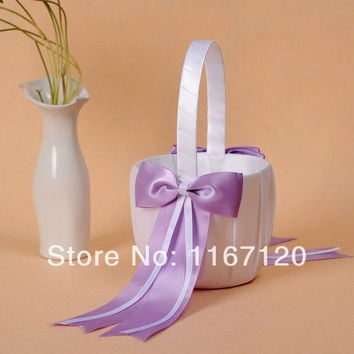Free Shipping,2pcs/lot New Fashion White and Lavender Bowknot Satin Wedding Flower Girl Basket wedding favors(N05)