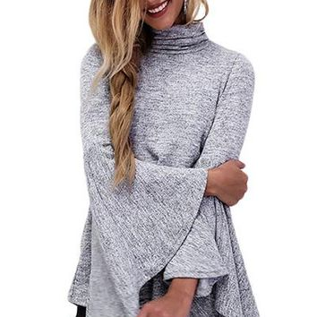 Flared Bell Sleeve Knit Blouse