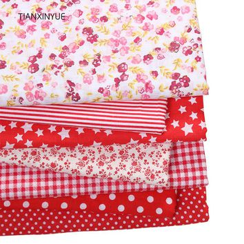 TIANXINYUE 7pcs 50cmx50cm Red 100% Cotton Patchwork Fabric for DIY Sewing Quilting Tissue Kids Bedding Textiles Cloth Fabric