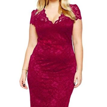 Women's Plus Size Short Sleeve Scalloped V-Neck Lacey Sheath Dress