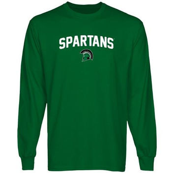 USC Upstate Spartans Mascot Logo Long Sleeve T-Shirt - Green
