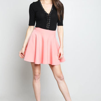 Blush Scuba Mini A-Line Skirt