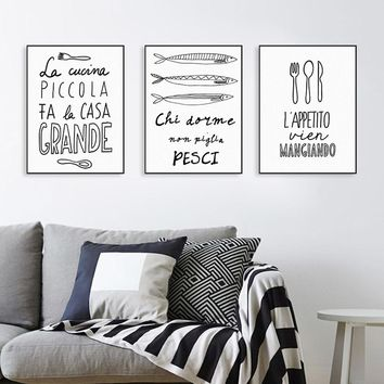 Nordic Fish Food Quotes Posters Prints Wall Art Picture Minimalist Black and White Kitchen Restaurant Home Decor Canvas Painting