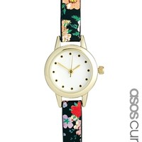 ASOS CURVE Mini Floral Strap Watch - Multi