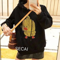 """SECAl"" Women Personality Diamond Sequin Pattern  Long Sleeve Hooded Sweater Tops"