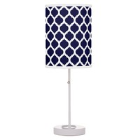 Navy Blue & White Moroccan Pattern Table Lamp