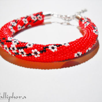 Cherry blossoms - Beaded bracelet - crocheted bracelet - red