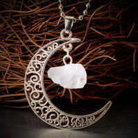 Raw moonstone Pendant Silver Sailor moon Necklace Filigree Crescent Charm Jewelry