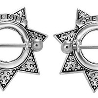 Sheriff Star Nipple Shields Rings Barbell Barbells 14g 316L Stainless Steel - Sold as a Pair