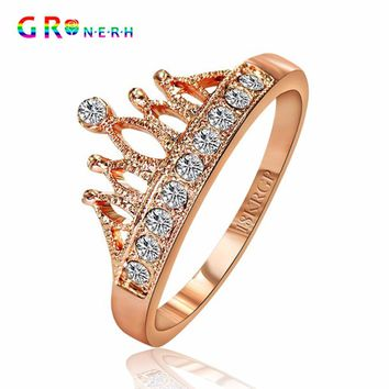 Gold-Color Princess Crown Zircon Wedding Ring For Women