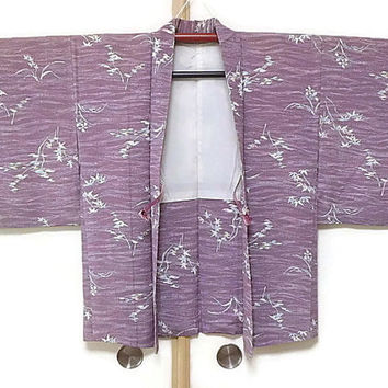 Vintage Haori in Chinese Violet with Flower Prints/ Violet Jacket Kimono/ Vintage Violet Jacket Fashion/ Traditional Costume JA0011VH