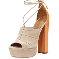 AQUAZZURA VERY EUGENIE SUEDE LACE-UP ANKLE-WRAP SANDAL
