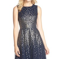 Women's Kay Unger Silk Organza Fit & Flare Dress,