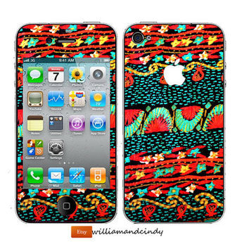 Iphone 5 4/4s Skin Cover - Vintage Dress Print -decal sticker