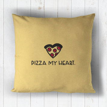 pizza my heart - printed throw pillow - 5 sizes | valentine + love decor, valentines day
