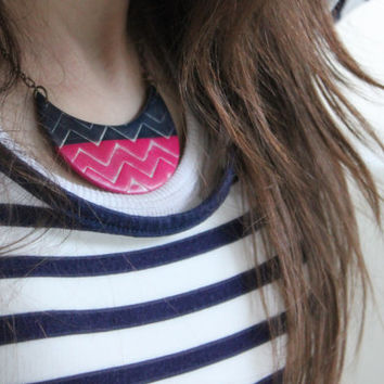 Crescent Navy Blue and Pink Chevron Polymer Clay Breastplate Necklace ~ 14 inch Antique Bronze Chain