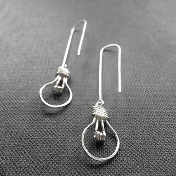 Light Bulb Earrings - Wire Work Earrings, Wire Wrapped Jewelry - 'Light Bulb'