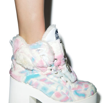 Maria ke Fisherman X Buffalo Platform Cotton Candy Fur Boots Multi