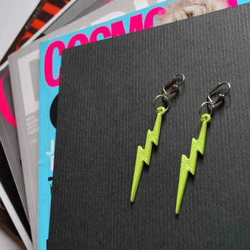 UTHA neon lightning bolt earrings