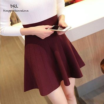 High Waist Pleat Elegant Skirt Green Black White Knee-Length Flared Skirts Fashion Women Jupe