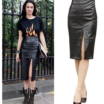 New 2015 Autumn High-Waist Faux Leather Pencil Skirt Casual PU Leather Knee-Length Fashion Slim Hip Split Black Sexy Women Skirt