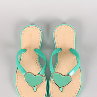 Wild Diva Lounge Astrid-02 Jelly Heart Thong Flat Sandal